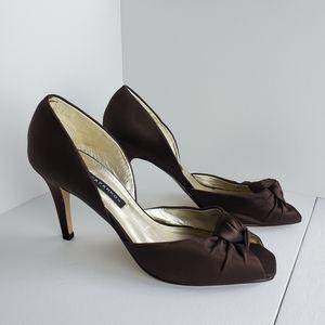 Caparros Chocolate Satin Peep Toe Heels
